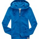 Aeropostale Bright Blue Hoodie Hooded Jacket Pockets Juniors Small Zip Front NEW