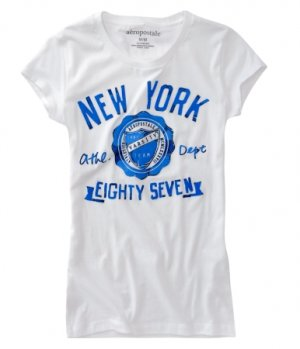 07bd78ce9 Aeropostale Girls Graphic Tee Varsity NY Sz. XS Extra Small White NEW