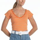 Chaps Striped Top or Shirt Orange White Ruffled Womens Top NEW Size Medium Nice