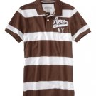 Aeropostale Heathered Graphic Jersey Polo Mens Brown Polo Shirt Short Sleeve Sz 2XL NEW
