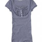 Aeropostale Womens Shirt Top Striped Scoop Neck Henley Style Top Sz. Extra Large Blue NEW