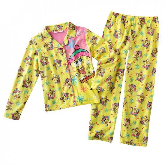 Spongebob Squarepants Girls Winter Pajama Set 2 Pc Sz. Medium 7-8 NEW