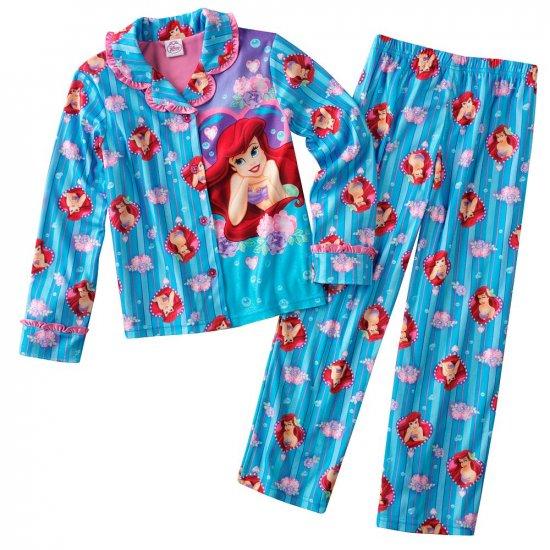 Disney Ariel Girls Winter Pajama Set 2 Pc Sz. 6 Blue NEW