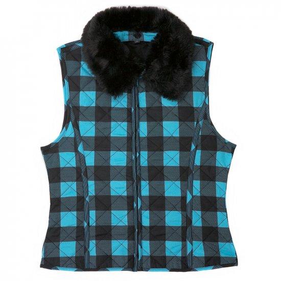 Girls Buffalo Plaid Vest by IZ Amy Byer Faux Fur Size XL Turquoise NEW