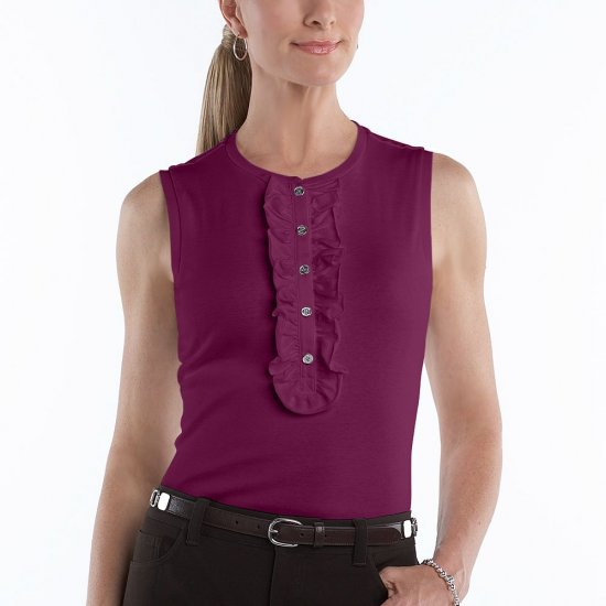 Chaps Maroon Top or Shirt Sleeveless Womens Top Ruffled Henley Style Size Large L NEW