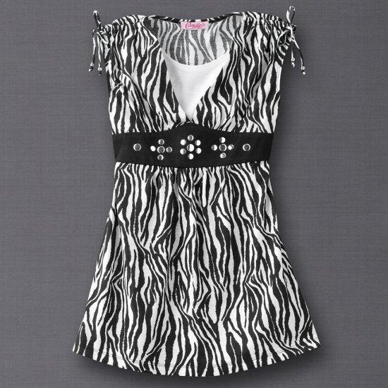 Candies Zebra Pattern Shirt Top Girls Small Layered Look NEW