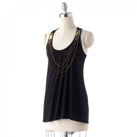 Elle Embellished Tank Top or Shirt Sleeveless Womens Top Size Large L Black NEW