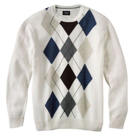 Mens Haggar Argyle Crew Neck Sweater XXL or 2XL Ivory NEW