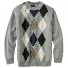 Mens Haggar Argyle Crew Neck Sweater XXL or 2XL Gray NEW