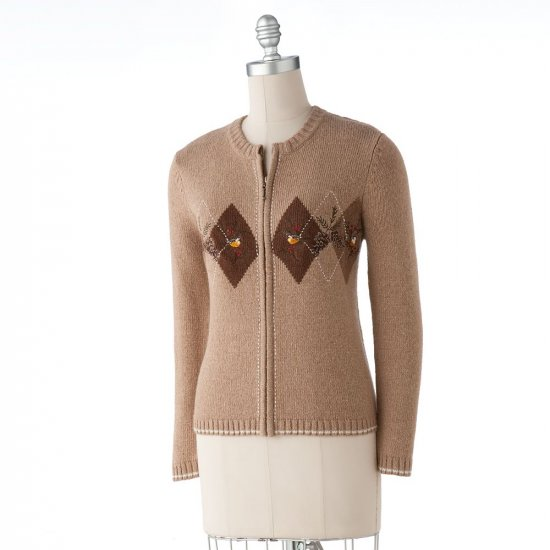 Womens Embroidered Cardigan Sweater by Croft Barrow Tan Argyle Size PM Petite Medium NEW