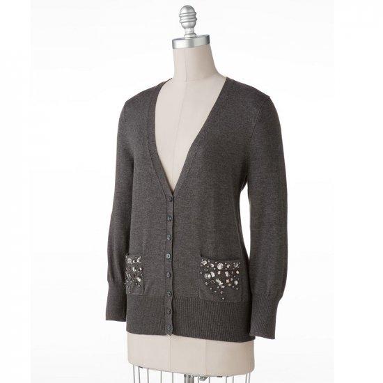 Womens Charcoal Gray Boyfriend Style Cardigan Sweater by Apt. 9 Size PM Petite Medium NEW