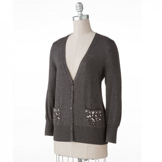 Womens Charcoal Gray Boyfriend Style Cardigan Sweater by Apt. 9 Size PS Petite Small NEW