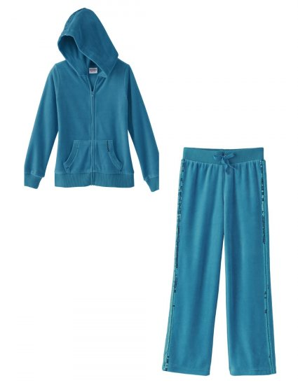 Girls 2 Pc Hoodie + Pants Sequined Details Velour Suit Teal 6X NEW