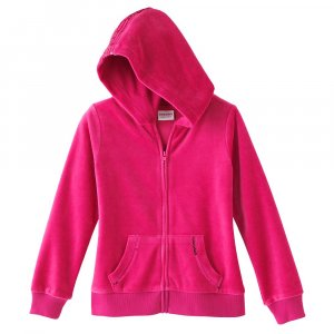 Girls Bright Pink Hoodie Hooded Jacket Sz 6X Velour Sonoma NEW