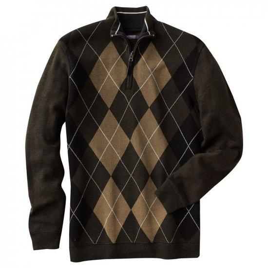 Mens Method Brand Argyle 1/4 Zip Sweater Green XL NEW