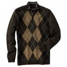 Mens Method Brand Argyle 1/4 Zip Sweater Green XL NEW