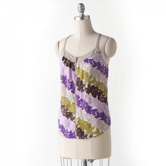 Elle Zip Front Womens Cami Camisole Floral Tank Large Purple New