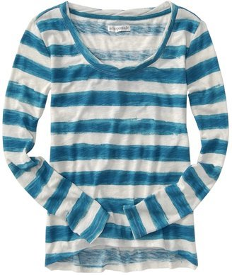 Aeropostale Long Sleeve Striped Loose Scoop Shirt Top Sz. Small Peacock NEW