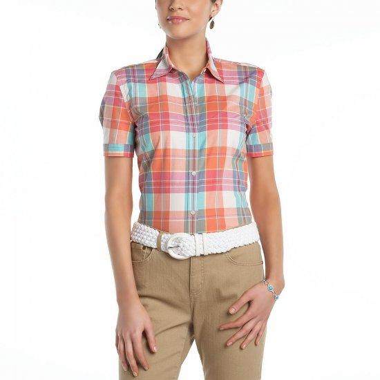 CHAPS Plaid San Miguel Button Front Short Sleeve Shirt Top Sz 1X NEW