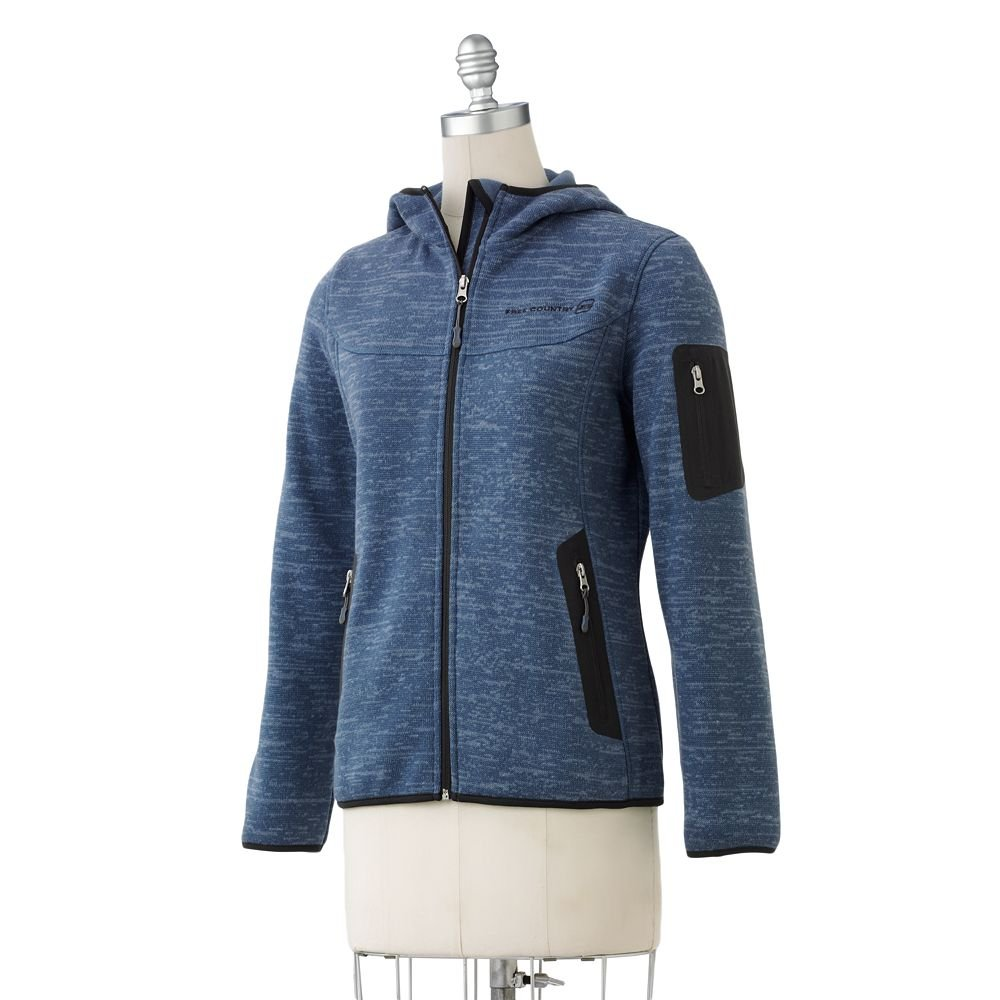 NEW Womens Free Country Blue Marled Fleece Hooded Jacket Coat Large $80
