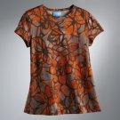 Vera Wang Floral Top Shirt Short Sleeves Orange Sz. Petite Small NEW
