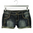 Mudd Juniors Jean or Denim Cuffed Shorts Dark Size 3 NEW