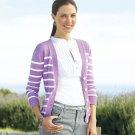 Womens Purple Button Front Dakota Striped Cardigan Sweater by CHAPS Size Small NEW