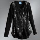 Womens Black Vera Wang Asymmetrical Foil Jacket Size Petite Small NEW
