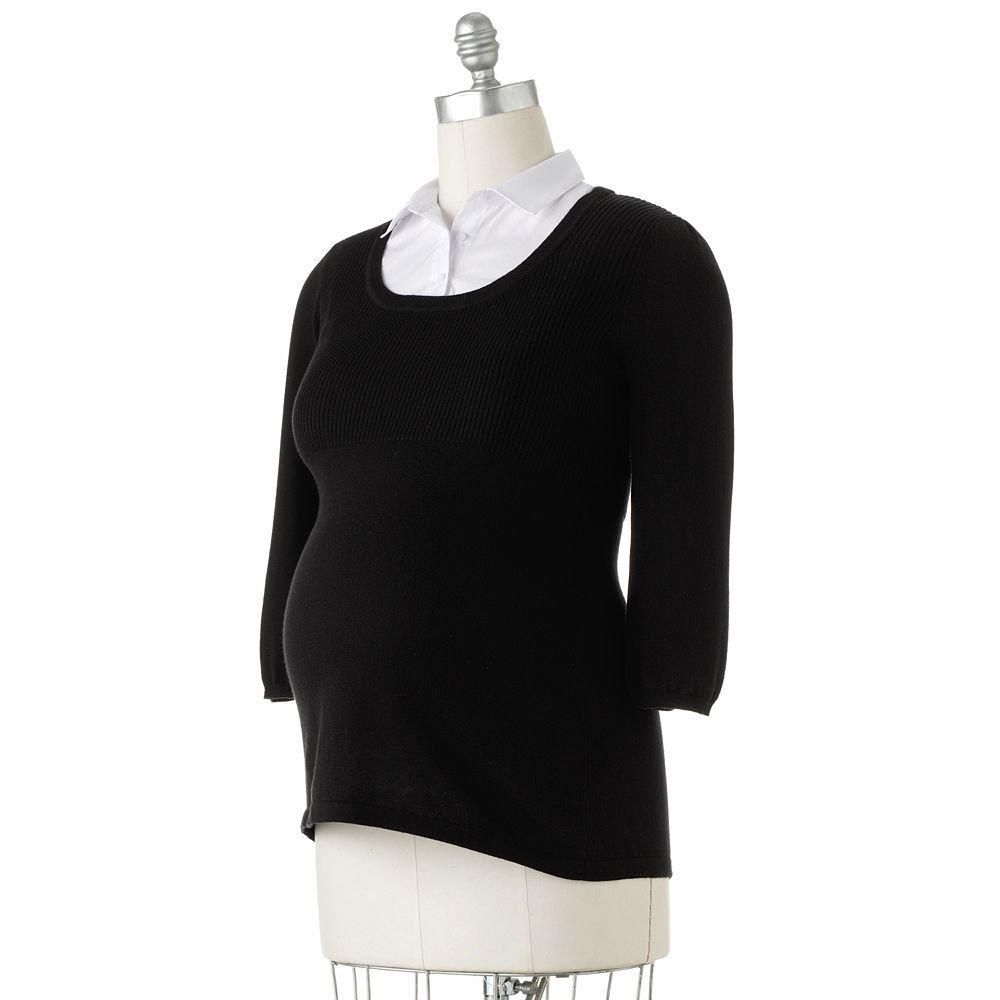 Womens Maternity Mock Layer Shirt Top Sweater Sz Medium Oh Baby Maternity Black