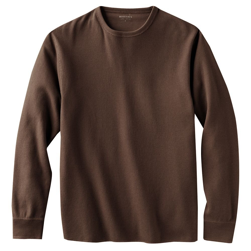Mens brown thermal shirt top or tee long sleeve sz small new Thermal t shirt long sleeve