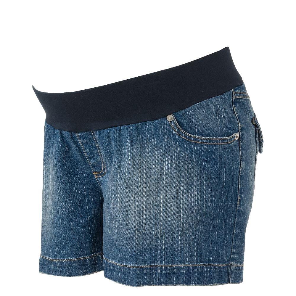 Womens Denim Jean Underbelly Maternity Shorts Sz Large Oh Baby Maternity Jean Shorts