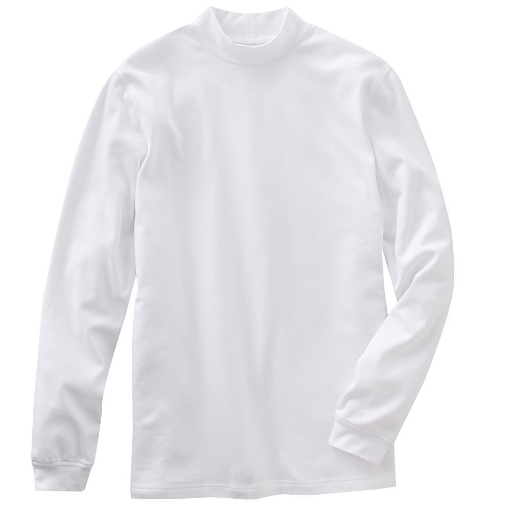 Mens white mock neck shirt top or tee long sleeve sz extra for Extra tall white t shirts