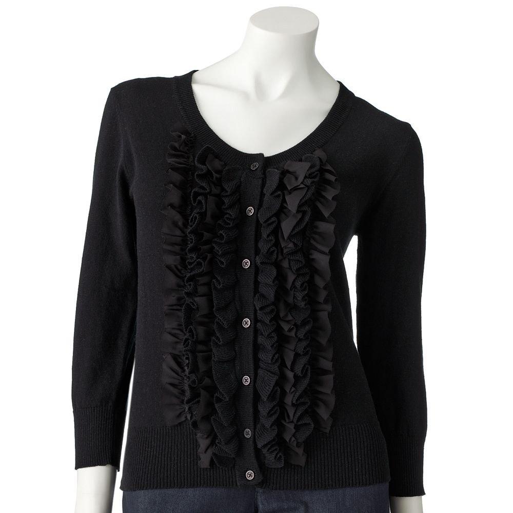 Juniors Solid Chiffon Ruffled Cardigan Sweater by Say What Black Sz. Medium NEW