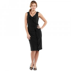 Womens Black Dress by Chaps Ruffle Design Size Extra Large  NEW