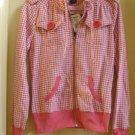 Juniors Coral Houndstooth HOODIE Hooded Sweatshirt Jacket Miss Chievous MissChievous Sz. Large NEW