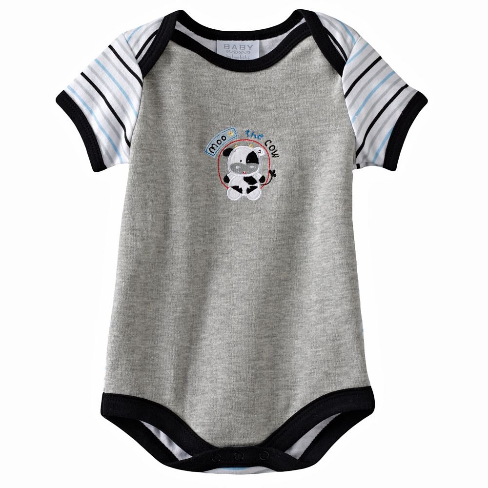 NEW Baby by Bon Bebe One Pc 6 to 9 Mo Baby Outfit GRAY Cow MILK Design