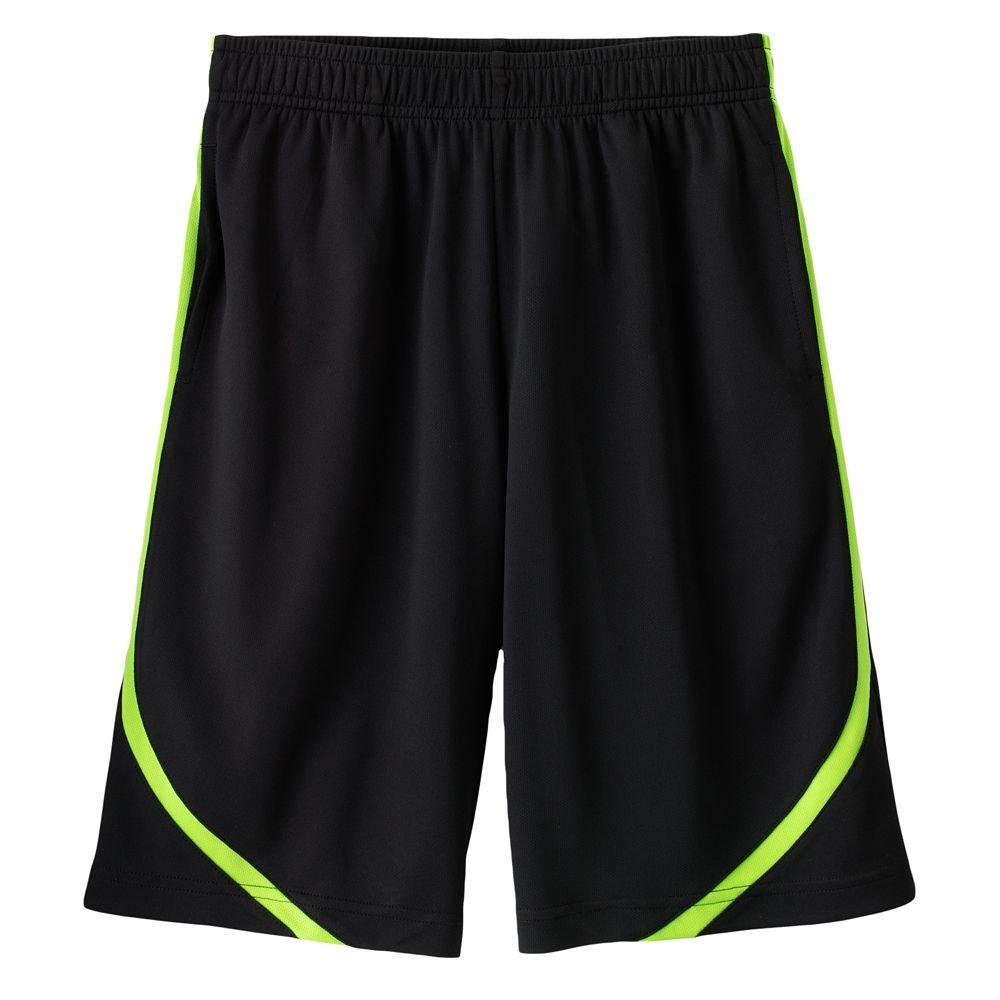 Tek Gear Striped Performance Shorts Size Extra Large XL BLACK NEW