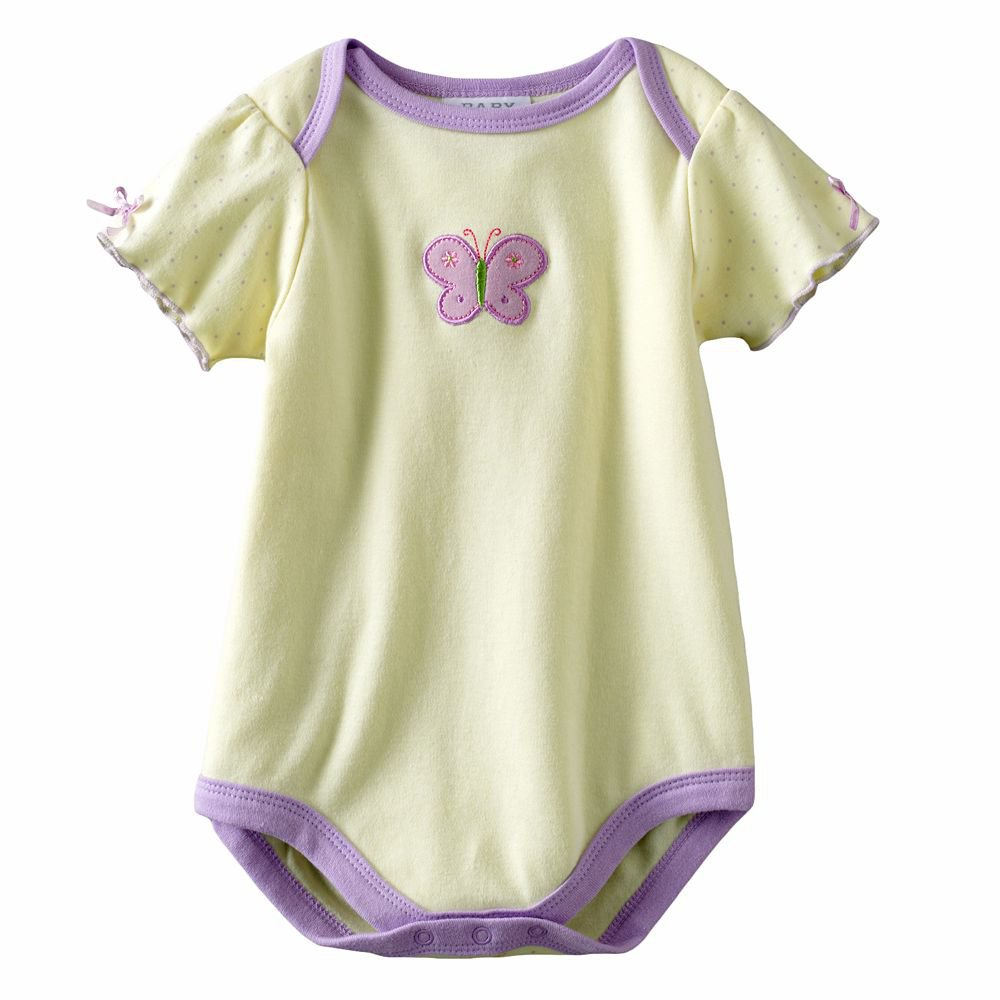 NEW Baby by Bon Bebe One Pc 6 to 9 Mo Baby Outfit Green Butterfly Onesie