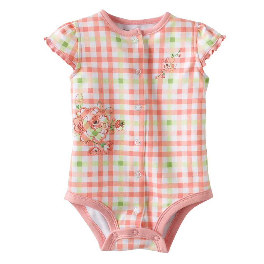 NEW Baby One Pc 3 to 6 Mo Baby Outfit First Moments Plaid Ruffle Onesie