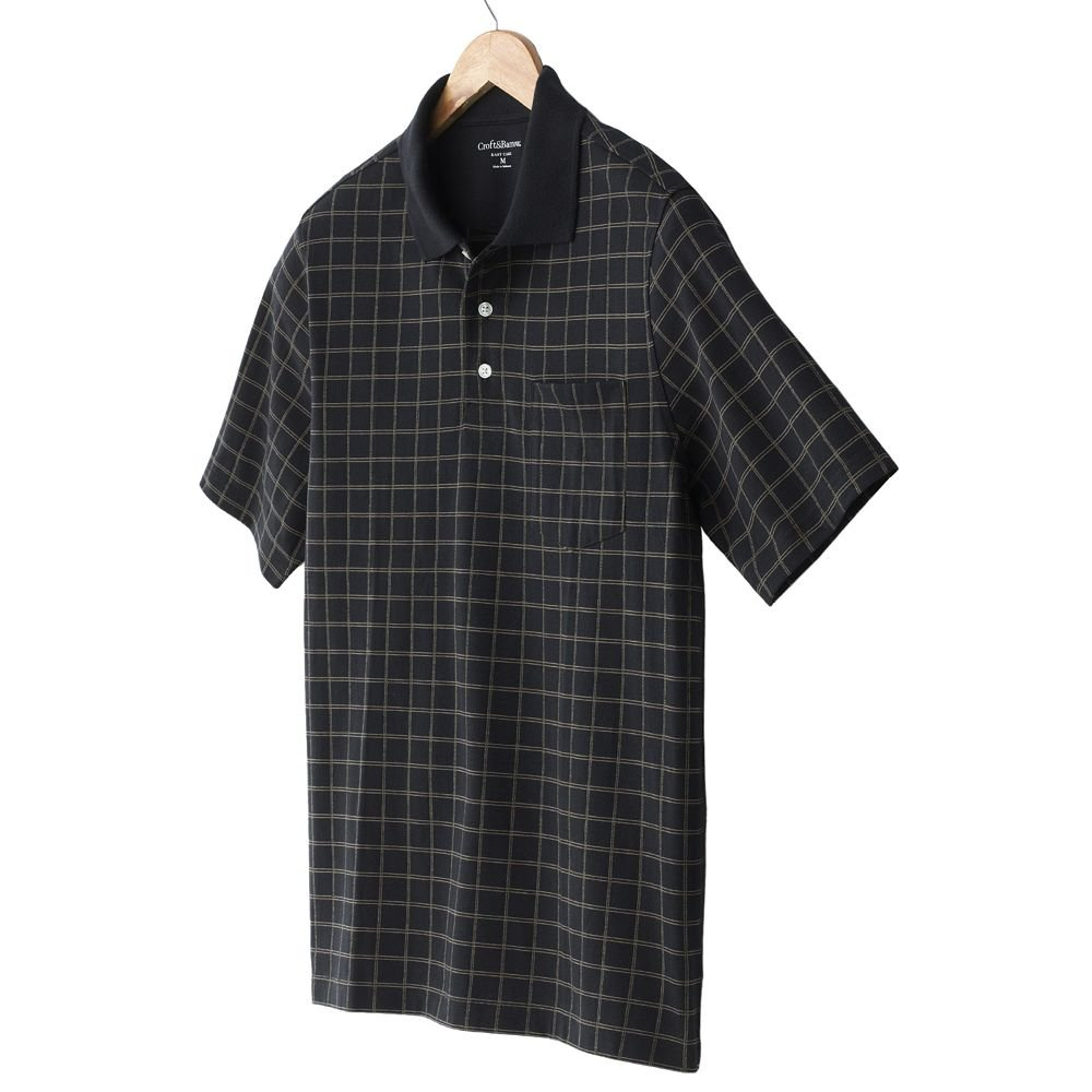 NEW Black Plaid Polo Shirt Mens Short Sleeve Sz Extra Large XL Croft Barrow $34.00