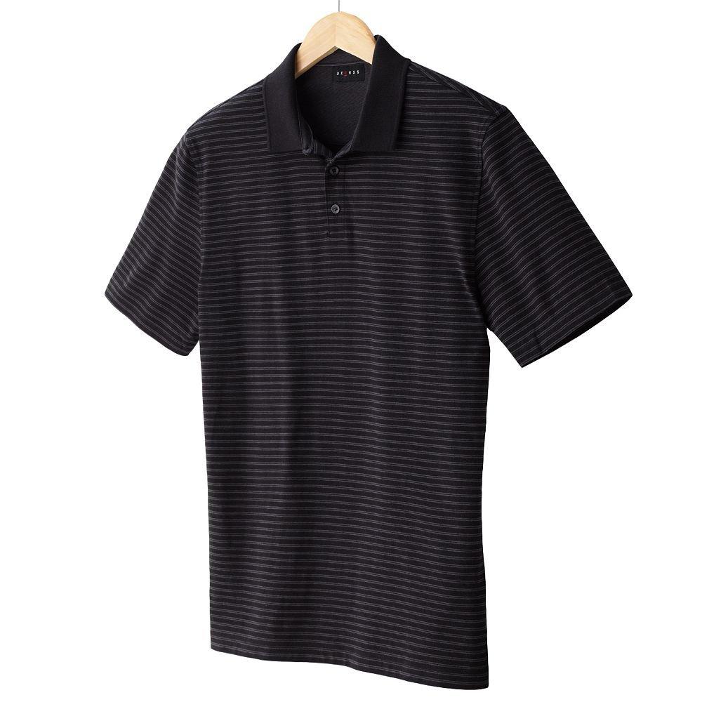 NEW Black Striped Polo Shirt Mens Short Sleeve Sz Extra Large XL Axcess $34.00