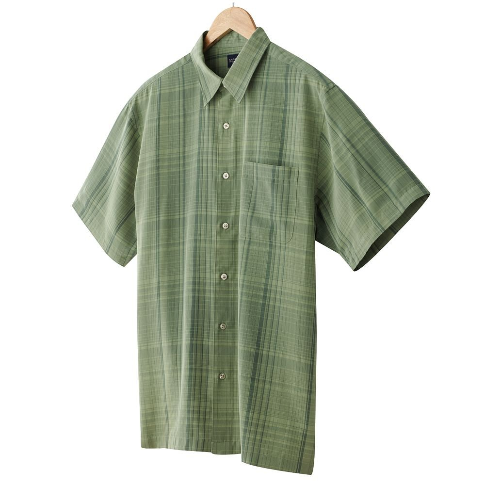 Arrow Mens Plaid Casual Button-Front Shirt or Top Size Extra Large XL Green Short Sleeve NEW