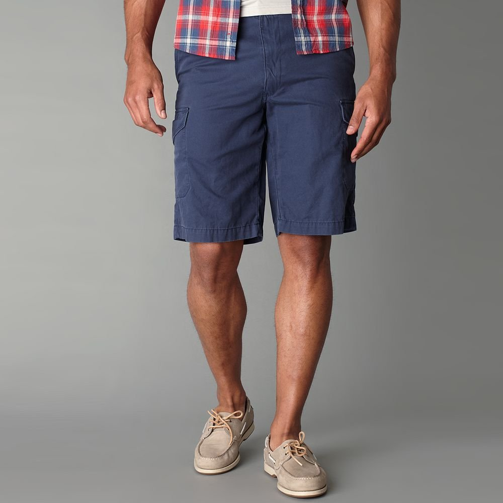 NEW Mens Dockers Twill Navy Blue Cargo Shorts Sz. 40 Flat Front - $50.00