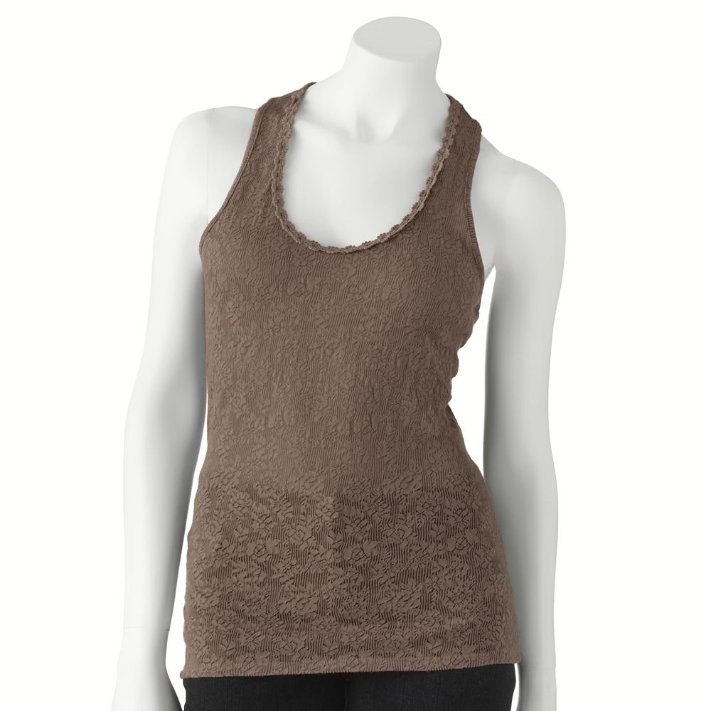 Juniors Teens Girls Brown Lace & Crochet Tank Top by Candies Sz Large or L $28.00 NEW