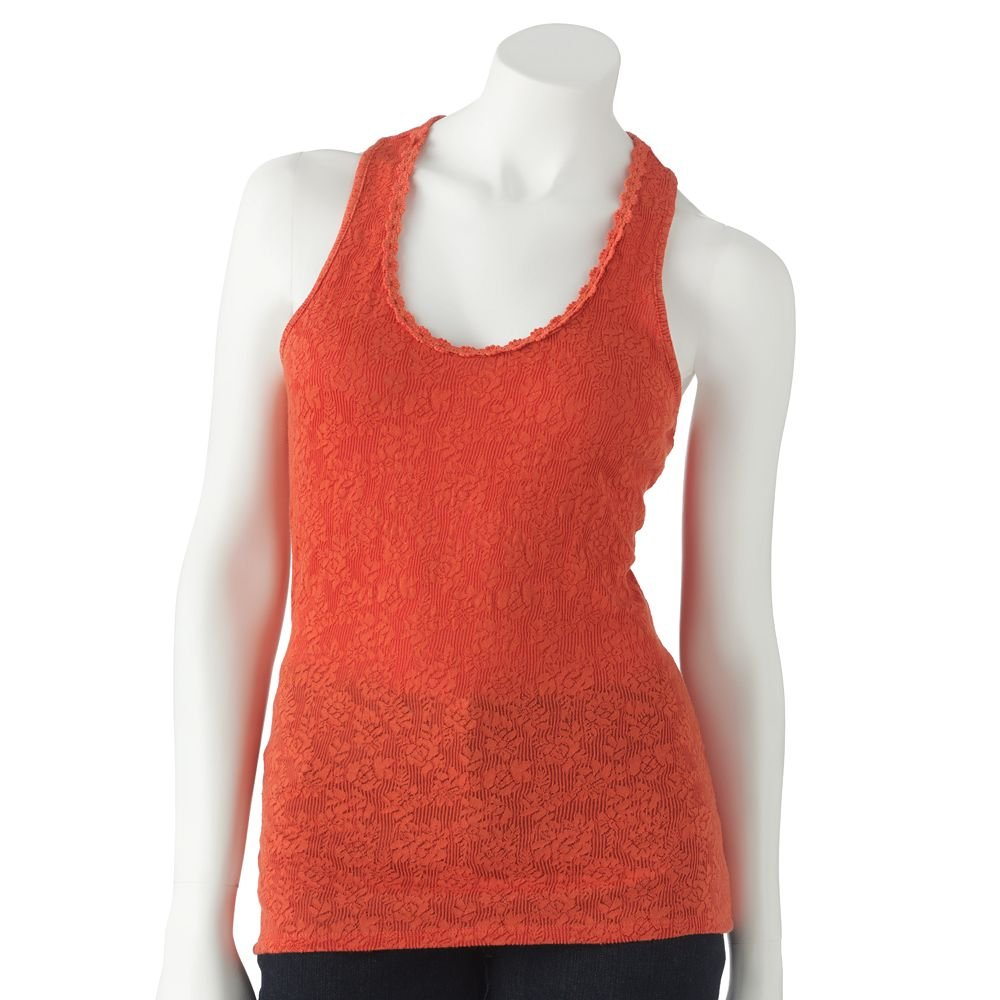 Juniors Teens Girls Paprika Red Lace & Crochet Tank Top by Candies Sz Large or L $28.00 NEW
