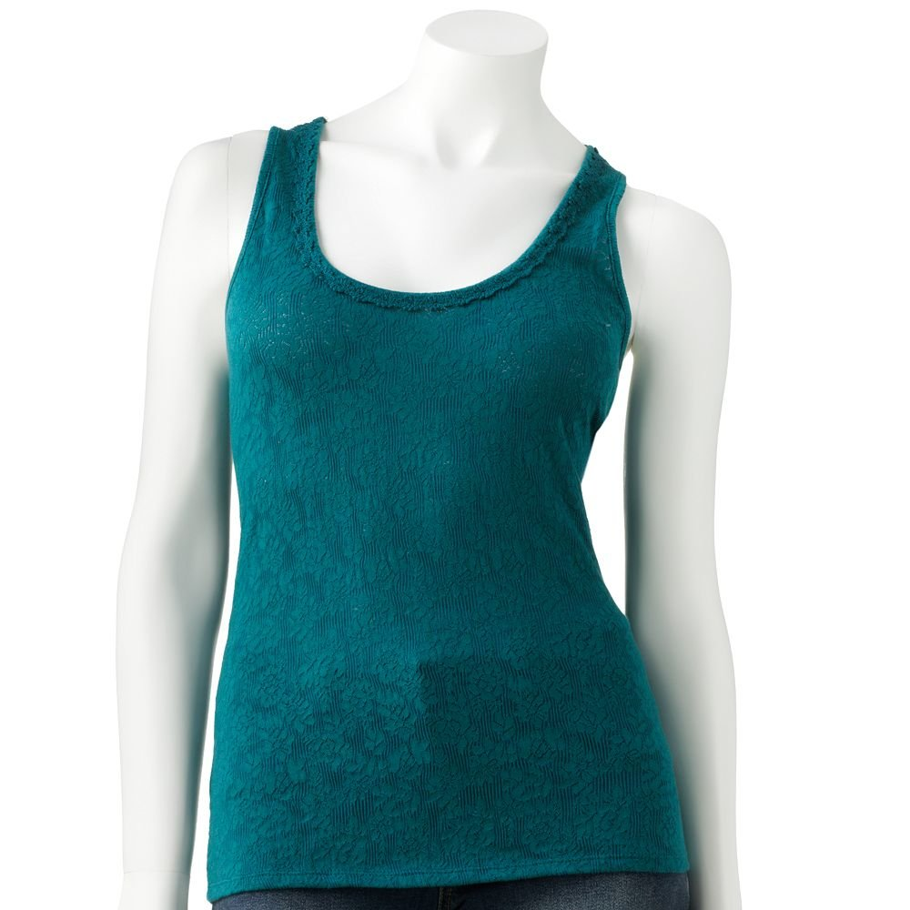 Juniors Teens Girls Green Blue Lace & Crochet Tank Top by Candies Sz Extra Large or XL $28.00 NEW