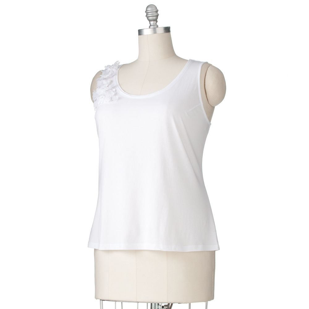 Womens Plus Rosette Tank by Elle Tank White Sz 1X NEW