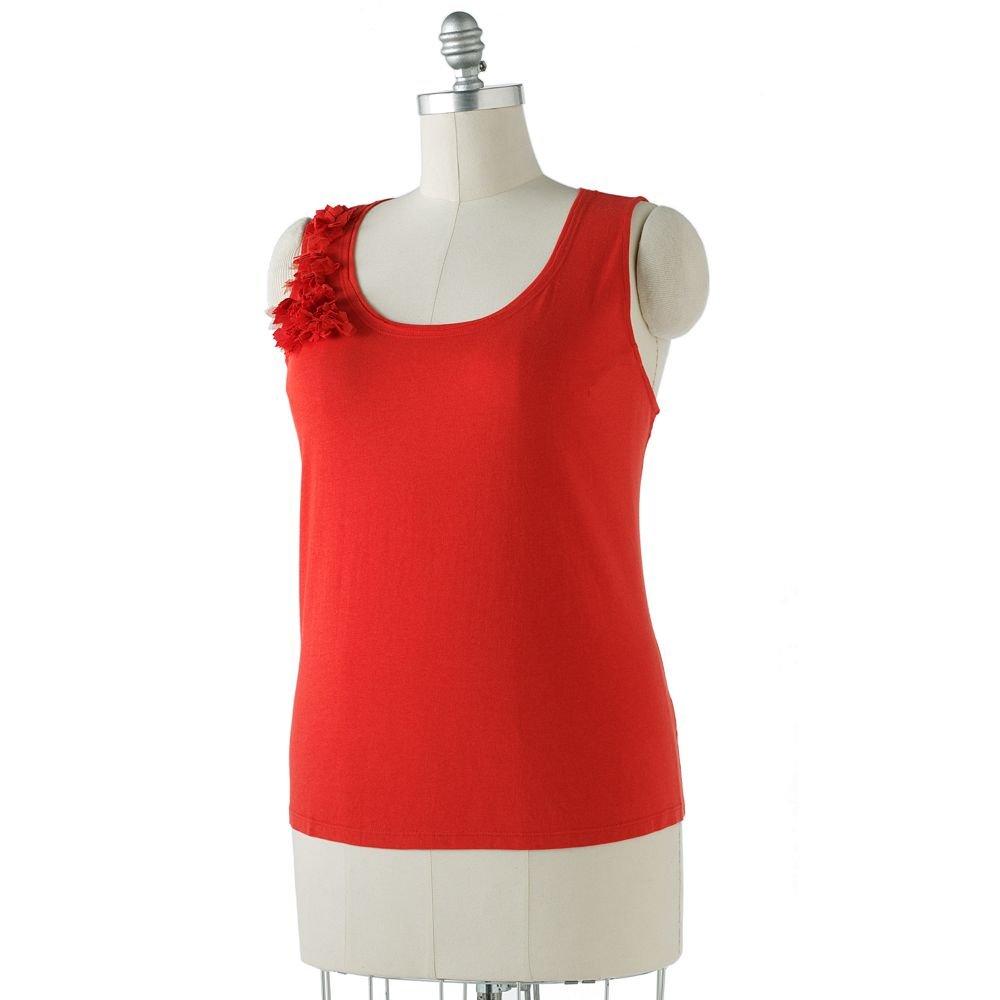 Womens Plus Rosette Tank by Elle Tank Orange Red Sz 2X NEW