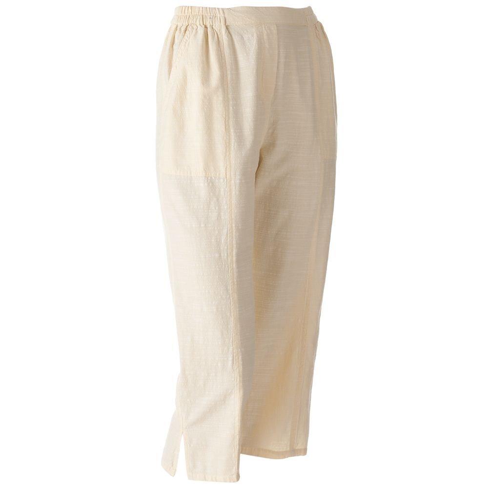New Cathy Daniels Yellow Comfort Waist Slubbed Capri Pants Petite Capris Sz. Medium $42.00