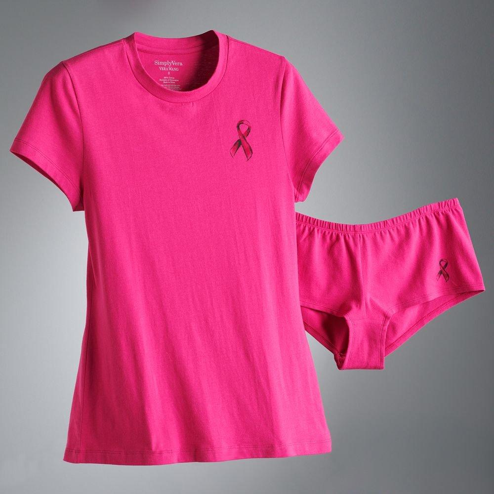 Vera Wang Breast Cancer Awareness Pajama Set Dark Pink Small S NEW